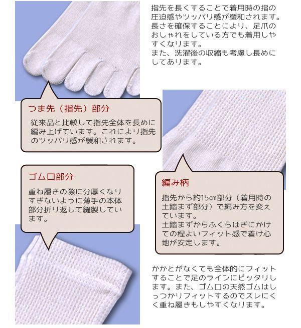 絹効大地はかかとなしのフリースタイルで指先を長めに編み上げています。